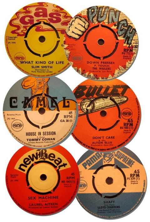 Reggae Record Label Coasters Set Of 6. High Quality Cork Backed Music Gift. Pama